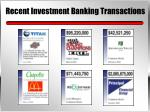 recent investment banking transactions