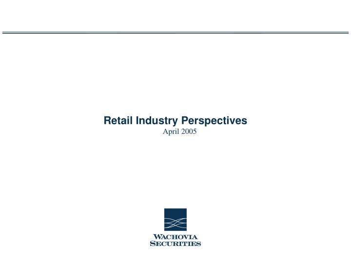 retail industry perspectives n.