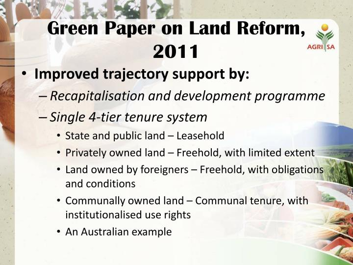land tenure reform in zimbabwe essay Aim was to address the unequal land tenure caused by the land apportionment act of 1890 the process of land reform brought with it mixed results including unexpected outcomes land is the slogan encouraging land reform in zimbabwe (mugabe, 2001.
