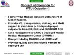 concept of operation for wtu outpatient