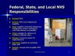 federal state and local nvs responsibilities