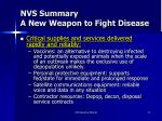 nvs summary a new weapon to fight disease1