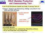 velo modules production and commissioning test