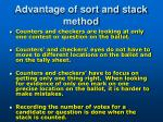 advantage of sort and stack method