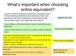 what s important when choosing online equivalent