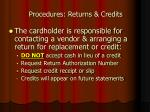 procedures returns credits