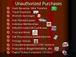 unauthorized purchases