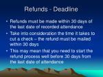 refunds deadline
