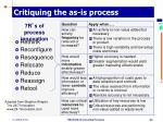 critiquing the as is process
