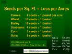 seeds per sq ft loss per acres