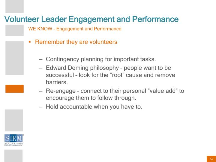 Volunteer Leader Engagement and Performance