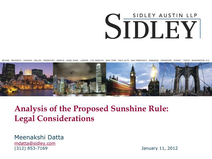 analysis of the proposed sunshine rule legal considerations n.