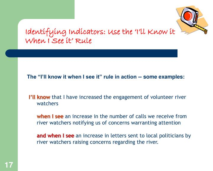 Identifying Indicators: Use the 'I'll Know it When I See it' Rule