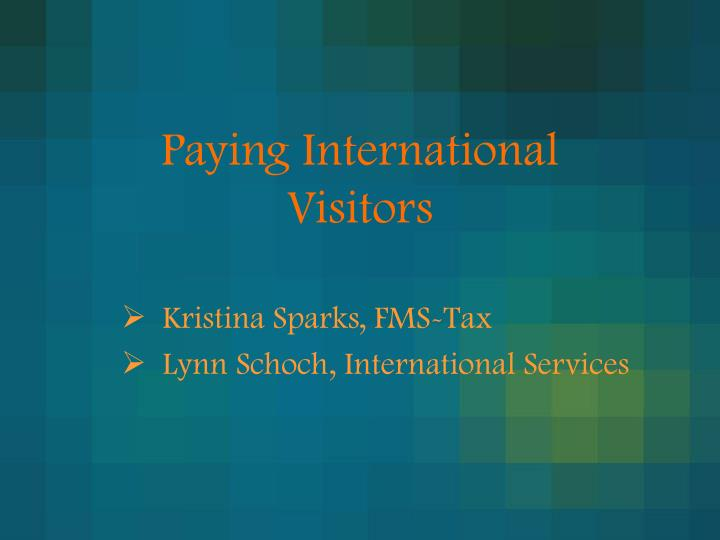 paying international visitors n.