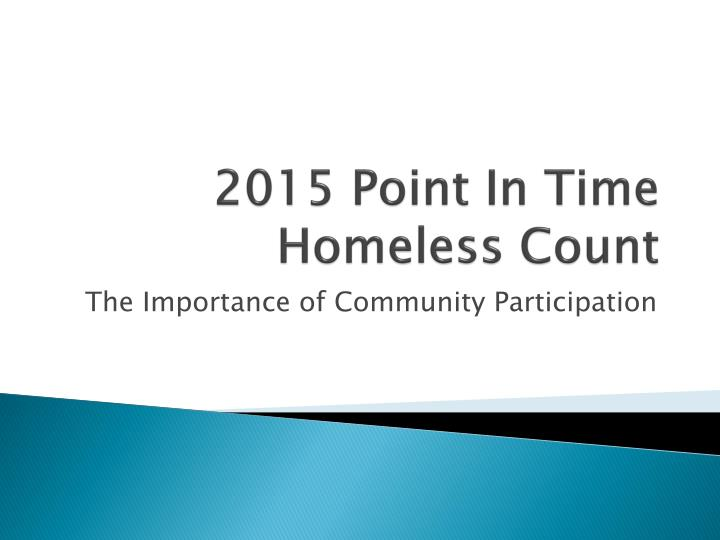 2015 point in time homeless count n.