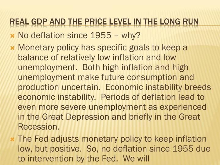 real gdp and the price level in the long run n.