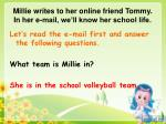 millie writes to her online friend tommy in her e mail we ll know her school life