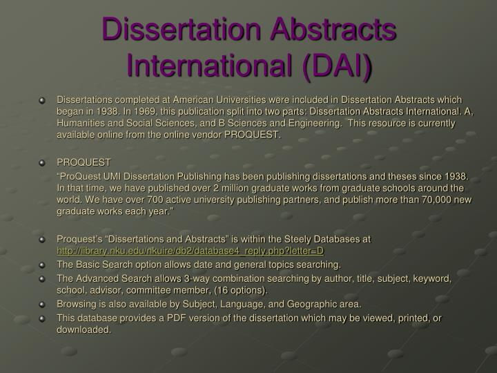 dissertation abstracts international b the sciences and The purpose of this research was to determine the relationship between the academic self-concept and academic performance the sample consists of 363 students from 10 high schools were chosen by using multistage cluster sampling method.