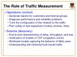 the role of traffic measurement