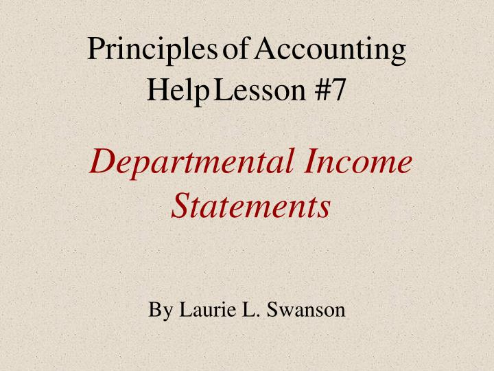 departmental income statements n.
