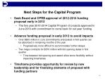 next steps for the capital program