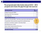 the proposed plan fully funds reduced 2012 2014 program and closes the gap through new sources