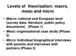 levels of theorisation macro meso and micro