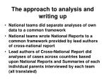 the approach to analysis and writing up