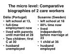 the micro level comparative biographies of 2 care workers
