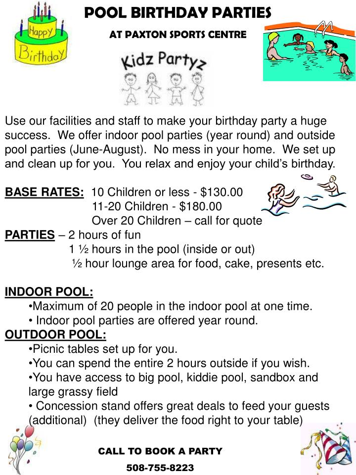 Ppt Pool Birthday Parties At Paxton Sports Centre Powerpoint