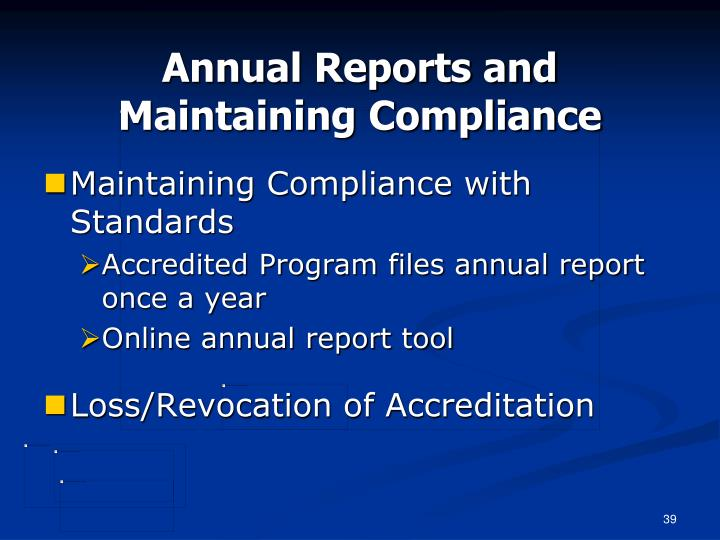 Annual Reports and Maintaining Compliance