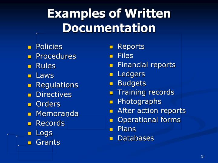 Examples of Written Documentation