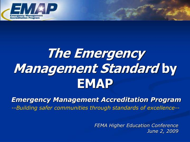 The emergency management standard by emap