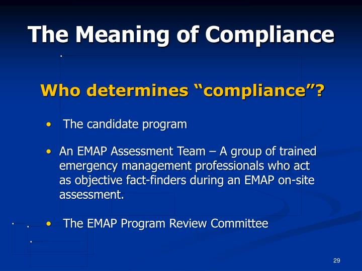 """Who determines """"compliance""""?"""
