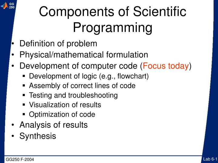 components of scientific programming n.
