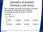 definition of problem sorting a row array
