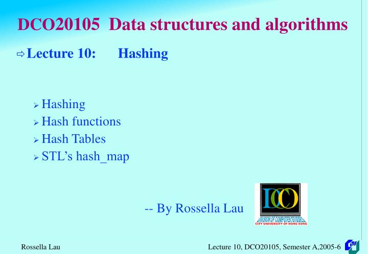 dco 20105 data structures and algorithms n.