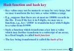 hash function and hash key