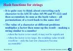 hash functions for strings