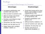 findings advantages disadvantages for consumers