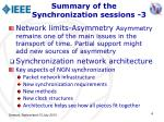 summary of the synchronization sessions 3