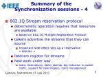 summary of the synchronization sessions 4
