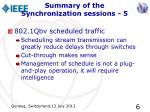 summary of the synchronization sessions 5