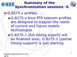 summary of the synchronization sessions 6