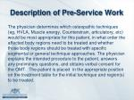 description of pre service work1
