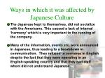 ways in which it was affected by japanese culture2