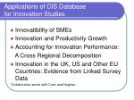 applications of cis database for innovation studies1