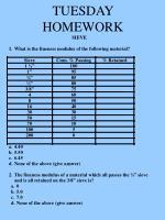 tuesday homework