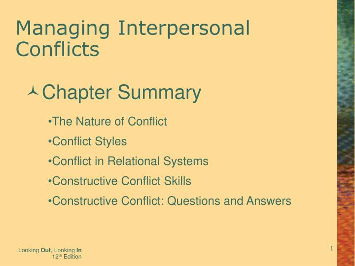 managing interpersonal conflicts n.