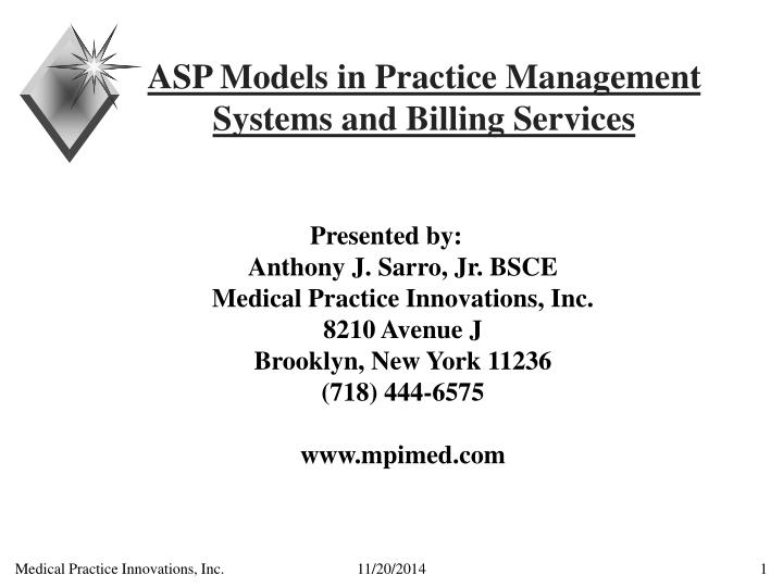 asp models in practice management systems and billing services n.